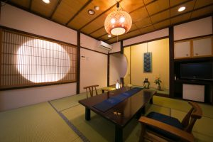 Guest room with open air bath
