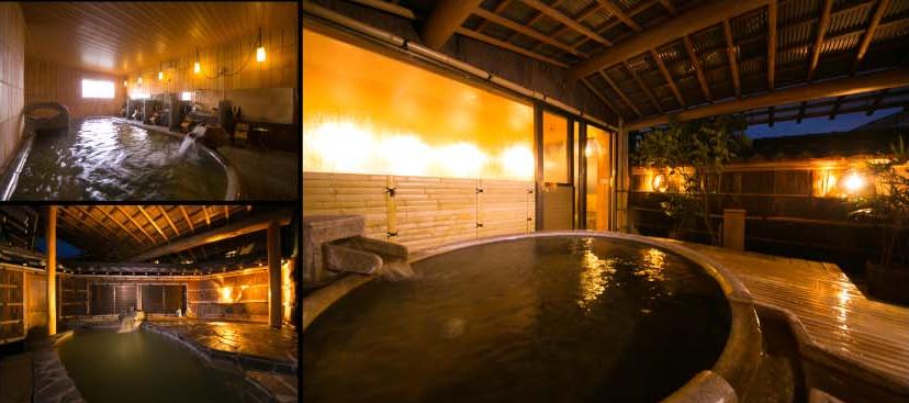 就寝前に、大浴場で自家源泉の新鮮な温泉に浸かる