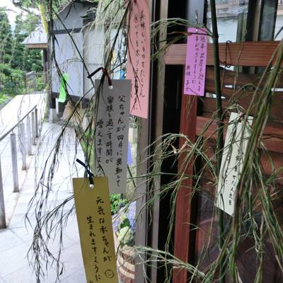 "We have decorated ""Tanabata Kazari (a bamboo hanging strips)"" on the entrance of our hotel."